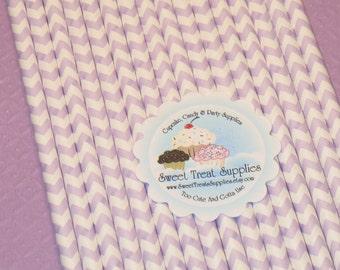 Lavender Chevron Stripe Paper Straws With DIY Flag Topper File   (25)