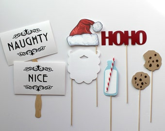 Holiday Photo Booth Props. Christmas Photobooth Photo Props. Santa Claus. Milk and Cookies
