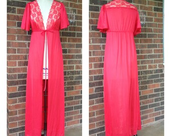 Red Vintage Nightgown with Lace