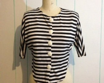 Vintage Black and White Striped Cardigan