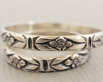 Sterling Silver Ring flower band stacking ring embossed flower pattern ring oxidized sterling silver jewelry