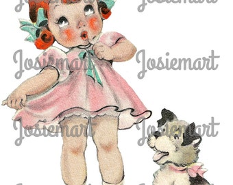 Girl with Puppy Digital Download Vintage Image Collage Large JPG and PNG Clipart