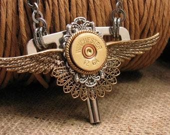 Bullet Jewelry - Shotgun Casing Jewelry - Steampunk Style 12 Gauge Winged Clock Key Pendant Necklace - Rocker, Biker Styling