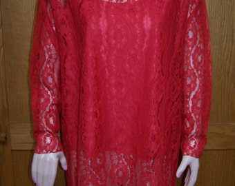 Plus size, Red Lace Dress, Lace mini dress, 80s Lace Tunic, sheer Lace & tank, size XL