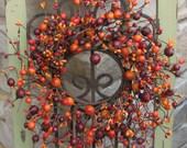 Wreath Mini Berry Wreaths, Wedding Wreaths, CandleSticks, Decorative Wreaths, Wedding Decor, Fall Wreaths, Harvest Wreaths, Berries