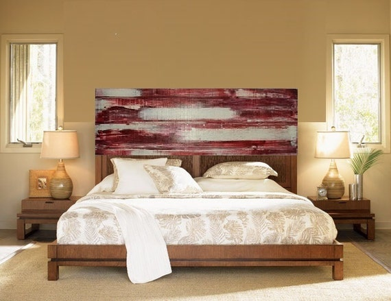 Modern painted reclaimed wood headboard abstract wall art for Painted headboard