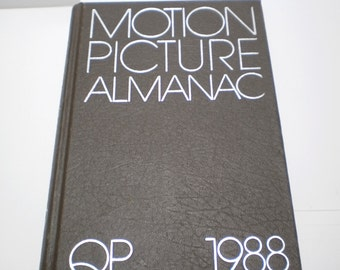 Motion Picture Almanac HOLLYWOOD Movies book 80s Vintage History Reference Movie Stars, Ads 1988 Silver Embossed Cover Art Deco Hollywood