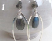 Labradorite Rain, labradorite and sterling earrings