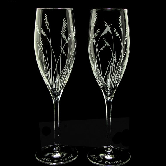 2 Fine Crystal Sea Grass Champagne Glasses, Beach or Destination Wedding, Rustic Decor
