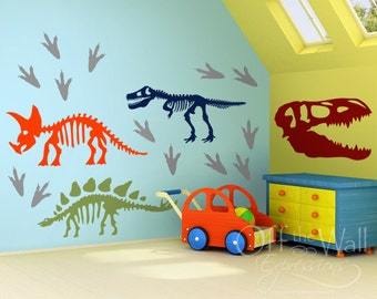 Dinosaur Skeleton Vinyl Decal Set with Footprints, Large Vinyl Wall Art Stickers, boys bedroom decor