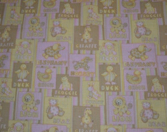 One Yard Debbie Mumm Yellow Baby Animals with Words on a Pink Background on Blocks