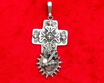PTH7 Santa Fe Cross over Mesilla Burning Heart Sterling Silver Southwestern Native Style Pendant