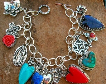 Elvira's Love and Faith Charm Bracelet Southwestern Silver Jewelry Santa Fe Native Style Sterling Heart and Cross Turquoise Price Varies