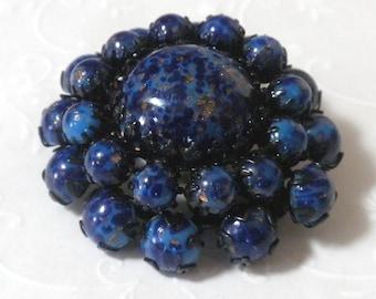 Blue Art Glass and Black Enamel Brooch / Pendant - Vintage Austrian Pendant / Brooch