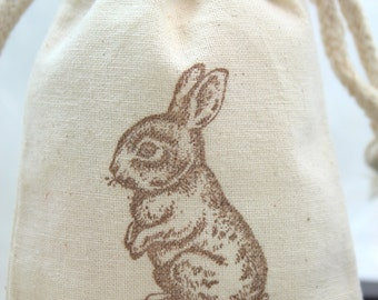 Bunny Muslin Bags - Set of 10 - Easter Bunny
