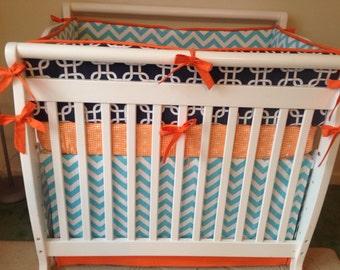 Mini Crib Bedding Orange Aqua Navy