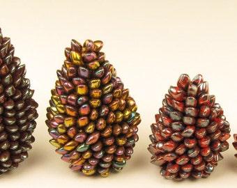 TUTORIAL: Bead Crochet Pine Cones Tutorial using Miyuki Long Magatma Beads