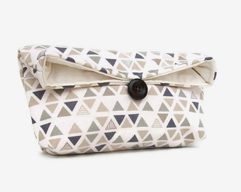 Handmade Makeup Bag, Triangle Clutch, Geometric Clutch Purse, Blue Gray Beige Ivory Travel Wedding Accessory, Gift Under 25, Bridesmaid Gift