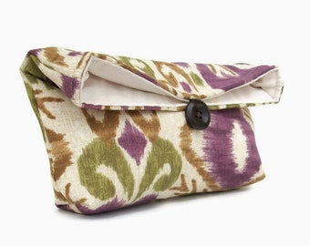 Eggplant Purple, Olive Green, and Tan Ikat Clutch Purse, Bridesmaid Gift, Travel Makeup Bag, Gift for Her, Mom, Girlfriend, Wife