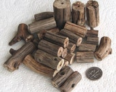 31 Driftwood Sea Wood Beads Tubes Drilled 3mm holes Supplies (1608)