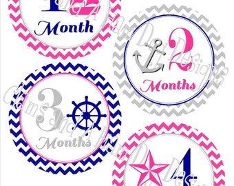 Monthly Milestone Stickers- Girls monthly sailing stickers- Baby month stickers- Monthly baby stickers- Nautical Baby shower- GRL119