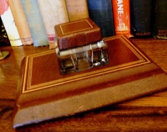 vintage office ...  Brown Leatherette INK BOTTLE classic INKWELL Desk Caddy Pen Holder ink well desk display ink well ...