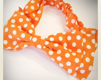 Pin Up -style Hair Bow, orange polka dot