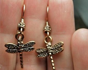 30% OFF SALE  -- Copper Dragonfly Charm Earrings