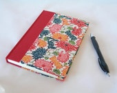 Address book large - red and multicolored lotus katazome -  6x8.5in 15x22cm -Ready to ship