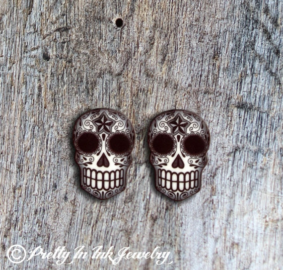 Black and Grey Filigree Sugar Skull Earrings
