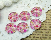Photo Glass Cabochon Handmade 10pcs 12mm Image Glass Cabochon Flower P36--20% OFF