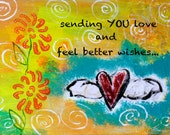 """Sending Love to Feel Better 5""""x7"""" Blank Greeting Card with Envelope, Get Well Card, Blank Card, Get Well Stationery"""