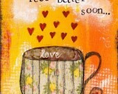 """Feel Better Soon 5""""x7"""" Blank Greeting Card with Envelope, Get Well Card, Blank Card, Get Well Stationery, Wholesale Greeting Cards"""