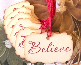 Believe Christmas Tags - Vintage Style Handmade Party Favor Treat Bag Tags TC038