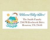 Return address labels, stickers, baby shower, rectangular--Noah's ark
