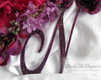 Purple Cake Topper - Wedding Cake Topper - Personalized Monogram Letter Cake Topper - Purple Crystal Cake Topper - Bride and Groom