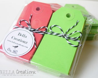 40 Small Gift Tags Shipping Tags - Red & Green Christmas Tags