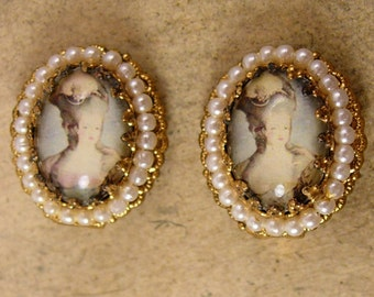 Vintage Marie Antoinette earrings Edwardian Earrings Cameo earrings seed pearl clip on West Germany
