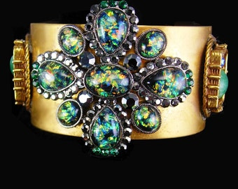 Gothic Cuff Bracelet Faux floating opal medieval dramatic gold jeweled jewelry