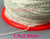 Strong Fine Delicacy Soldered Brass Chain 1.5x2mm Sterling Silver Plated  Oval Cable Cross Link Chain-12ft