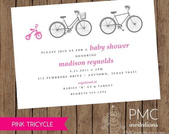Bicycle Tricycle Girl Baby Shower Birth Announcement Invitation Pink - 1.00 each with envelope