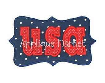 Machine Embroidery Design Applique USA in Frame INSTANT DOWNLOAD