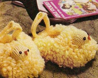 471 - Chick Toddler Slippers Vintage Knitting Pattern