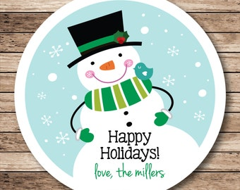 Jolly Snowman Personalized Christmas Stickers, Labels or Tags