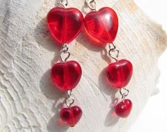 Red Heart Beaded Earrings, Handmade by Harleypaws, SRAJD