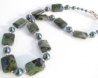 Green Jasper Stone Necklace, Handmade by Harleypaws, SRAJD