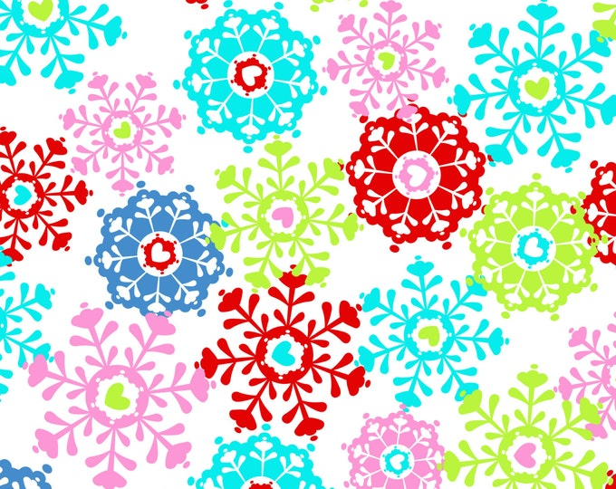 Winter Love Frost Fabric by Ellen Medlock - 1 Yard of Multicolor Snowflakes in Red Blue Green Sewing Quilting Cotton (#917F)