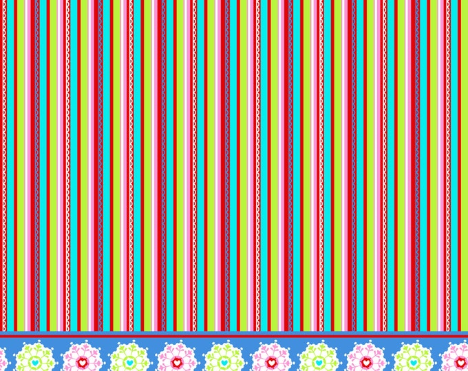 Blanket Stripe Fabric by Ellen Medlock - 1 Yard Bright Multi-color Stripe with Snowflake Border Cotton Quilting Sewing Fabric  (#922F)