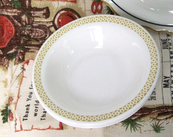 Vintage Restaurant Bowls Pair Buffalo Butterscotch Gold Soup Cereal Bowl Geometric Border Trim Diner Cafe Dishes