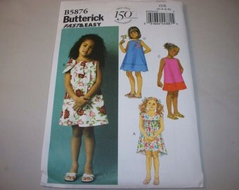 New Butterick, Girl's Dress  Pattern, B5876 (CCE) (3-4-5-6)  (Free US Shipping)